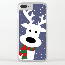 Reindeer in a snowy day (blue) Clear iPhone Case