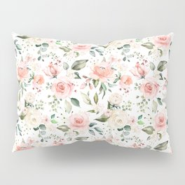 Sunny Floral Pastel Pink Watercolor Flower Pattern Kissenbezug