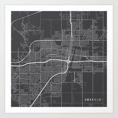 Amarillo Map, USA - Gray Art Print