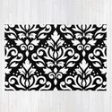 Scroll Damask Big Pattern White on Black by nataliepaskell