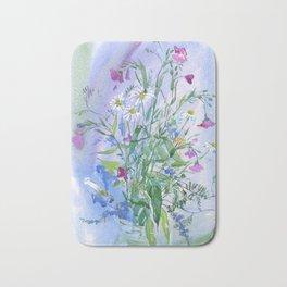 Meadow flowers - watercolor painting Bath Mat