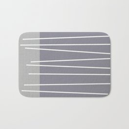 Mid century modern textured gray stripes Bath Mat