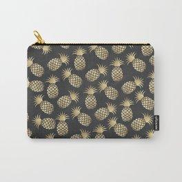 Modern chalk black elegant faux gold pineapple pattern Carry-All Pouch