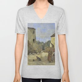 """Jean-Baptiste-Camille Corot """"Three peasant women chatting in a rustic courtyard"""" Unisex V-Neck"""