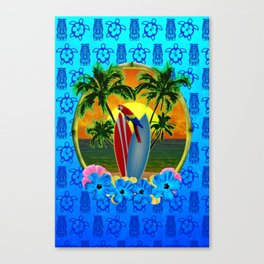 Blue Tiki Tropical Sunset Canvas Print