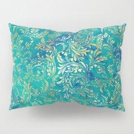 Blue Gold Swirls Pillow Sham