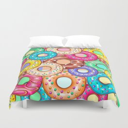 Donuts Punchy Pastel flavours Pattern Duvet Cover