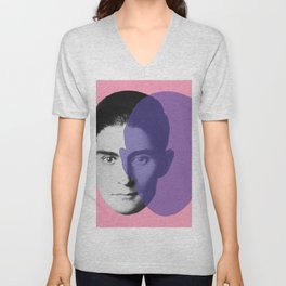 Franz Kafka - portrait pink and purple Unisex V-Neck
