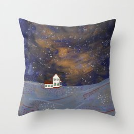 Snowy House on the Hill Throw Pillow