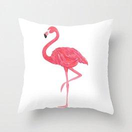 Flamingo fuchsia flap Throw Pillow