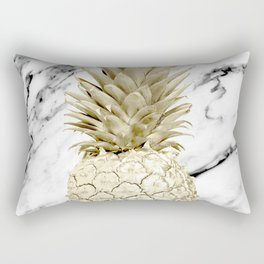 Rose Gold Pineapple Surprise on Simply Marble Rectangular Pillow