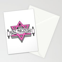 Mitzvah with Pink scroll &  Star of David Stationery Cards
