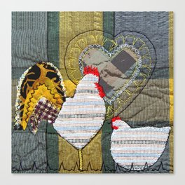 Hen & Rooster in grey Canvas Print