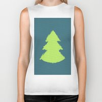 christmas tree Biker Tanks featuring (Christmas) Tree by Mr and Mrs Quirynen