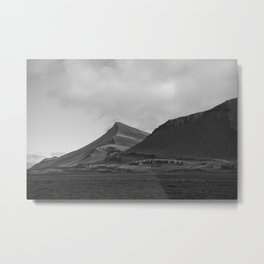 Iceland Landscape - Black and White Travel Photography Metal Print