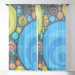 Retro Circular Pattern Design Sheer Curtain