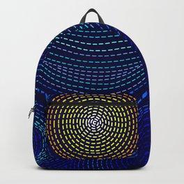 Blue Van Gogh Inspired Dark Night City Skyline Backpack