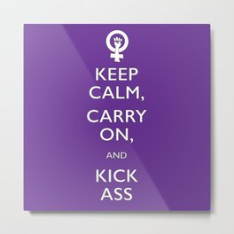Feminist Keep Calm and Carry On Metal Print