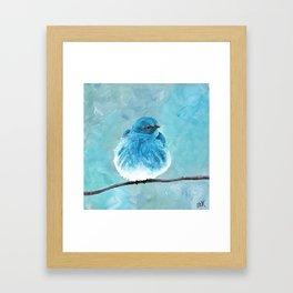 Mountain Bluebird Acrylic Art, Blue Bird Painting, Bird on a Branch, Wall Art, Fluffy Bird Framed Art Print