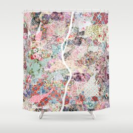 Budapest map Shower Curtain