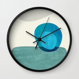 Stacking Pebbles Blue Wall Clock