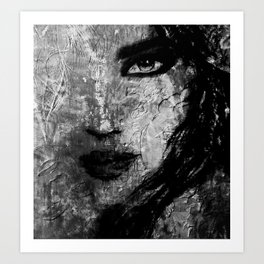 In Her Eyes Show Her Heart: a textured abstract piece in hues of black and white by KKingCreations Art Print