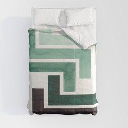 Deep Green Pattern Mid-century Modern Simple Geometric Pattern Watercolor Minimalist Art Squares Comforters