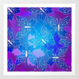 Colorful Butterflies and Flowers 20 Art Print