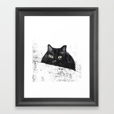 black cat yellow eyes Framed Art Print