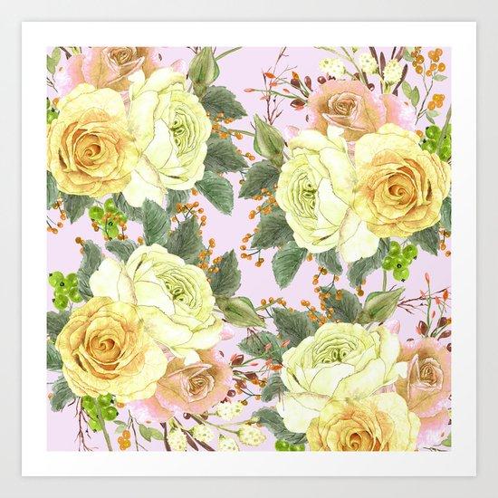 Watercolor Roses #4 Art Print