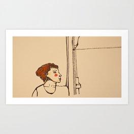Woman and the window Art Print