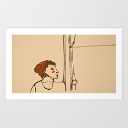 Woman and the window Art Print