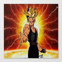 dragonball z Canvas Prints featuring Dragonball Z Trunks sketch colored by bernardtime