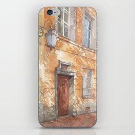 Sunny street watercolor illustration iPhone Skin