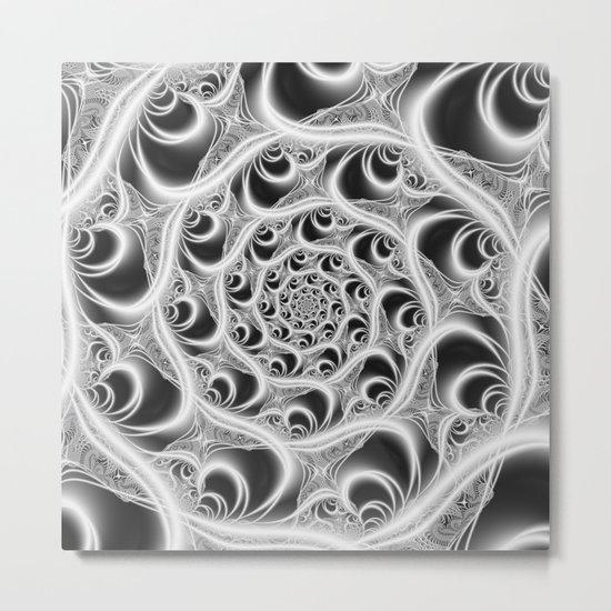 Fractal Web White on Black Metal Print