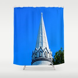 Church Steeple Statues Shower Curtain