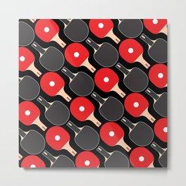 Ping Pong / Table Tennis Pattern (Black) Metal Print