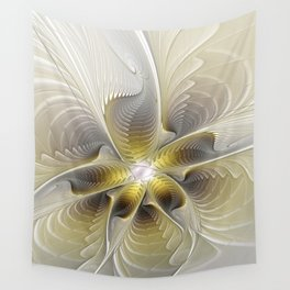 Gold And Silver, Abstract Flower Fractal Wall Tapestry