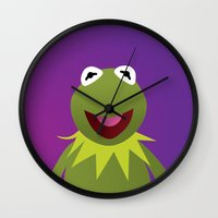 kermit Wall Clocks featuring Kermit - Muppets Collection by Bryan Vogel