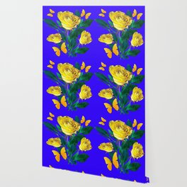 ROSES & YELLOW BUTTERFLIES INDIGO PURPLE VIGNETTE ABSTRACT Wallpaper