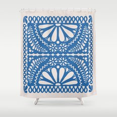 Fiesta de Flores Blue Shower Curtain