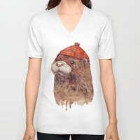 otter V-neck T-shirts featuring River Otter by Animal Crew