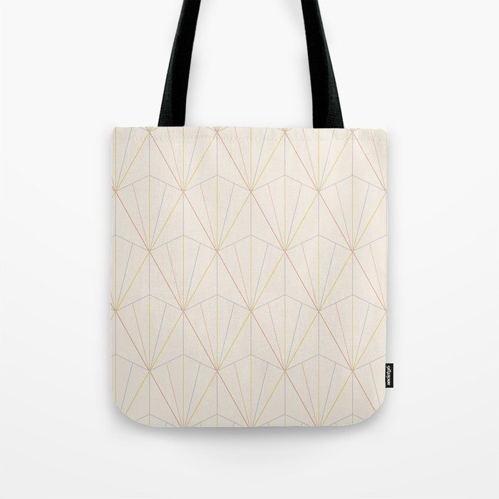 Gisela Geometric Line Pattern - Rainbow Tote Bag