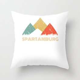 Retro City of Spartanburg Mountain Shirt Throw Pillow