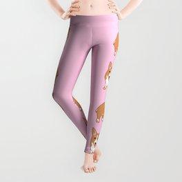 Corgi Pattern Pink Leggings