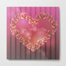Illustration for Valentines day with heart shaped frame with roses Metal Print