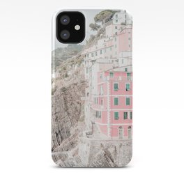 Positano, Italy pink-peach-white travel photography in hd. iPhone Case