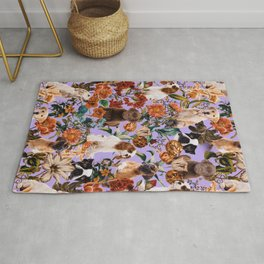 Dog and Floral Pattern Rug