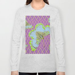 CHARTREUSE-WHITE EXOTIC BUTTERFLY Long Sleeve T-shirt
