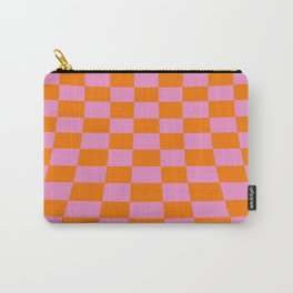 Warped perspective coloured checker board effect grid illustration orange and pink Carry-All Pouch